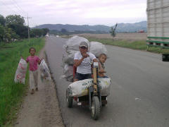 Honduras Recycling Man on PET on Highway